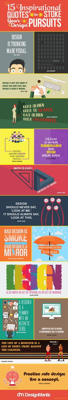 15Inspirational PURSUITS QUOTES Your Design STOKEto DESIGN ISTHINKING MADEVISUAL.SAUL BASS STEVE JOBS DESIGN IS NOT JUST W...