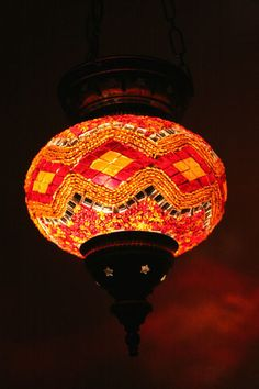 Turkish Morrocan hanging mosaic lamp