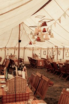 Inside a quirky wedding tent! bool lampshades and fabrics Quirky Wedding, Rustic Wedding, Our Wedding, Wedding Ideas, Chic Wedding, Carnival Wedding, Vintage Carnival, Reception Decorations, Event Decor