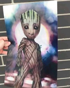 This printed artwork of Groot from Marvel Guardians of the Galaxy is amazing. Marvel Avengers, Marvel Jokes, Marvel Funny, Marvel Art, Marvel Dc Comics, Marvel Heroes, Geeks, Marvel Wallpaper, Avengers Memes