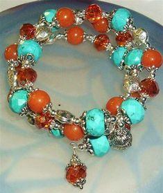 Резултат с изображение за Peach Memory Wire Bracelets