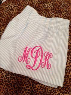 $16 Monogram Seersucker pj Shorts by the PinkyGirl! order online at www.thepinkygirl.com
