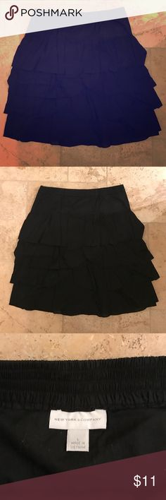 New York & Company black ruffled skirt- great cond New York & Company black tiered ruffle skirt in great condition New York & Company Skirts Midi