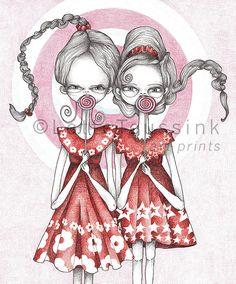 Twins art print pop surrealism 16 x 20 lowbrow