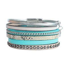Bracelet manchette cuir femme turquoise strass Python fermoir aimanté