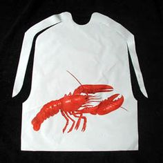 Disposable bibs.. because BBQ and crawfish are messy! Pretty good site, has only a few to chose from. Plain is $11 for 100