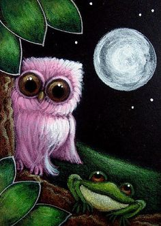 owl and frog Cyra R. Cancel