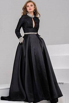 d39491c0117 Black long A line long sleeve embellished neck and waist dress.