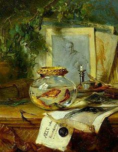 stilllifequickheart:  Maria Vos Still Life with Goldfish Bowl 19th century