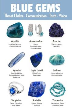 Blue gemstones and crystals include apatite aquamarine azurite kyanite lapis lazuli larimar sapphire sodalite and turquoise. Blue represents the throat chakra communication truth vision self-expression learning focus insight and clarity. Minerals And Gemstones, Crystals Minerals, Blue Crystals, Crystals And Gemstones, Stones And Crystals, Gemstones Meanings, Types Of Gemstones, Gem Stones, Crystal Healing Stones