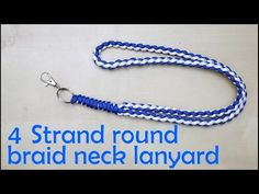 Here is a 4 strand round braid neck lanyard with the finishing touch of the snake knot viceroy attached to the key chain ring connector with a swivel eye lob.How To Tie A Four Strand Round Braid Paracord Survival BraceletLearn how to make a four strand ro Paracord Braids, Paracord Knots, Paracord Keychain, Paracord Bracelets, Paracord Weaves, Lanyard Tutorial, Paracord Bracelet Instructions, Paracord Tutorial, 4 Strand Round Braid
