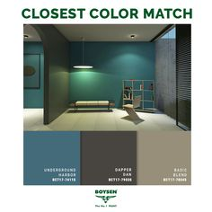 With JOMO - the Joy of Missing Out - at the heart of this palette, MINIMAL defines the new necessities of today — time, healthy relationships, and privacy. Its dark, cool greys and a muted green, can create a space for cocooning where people find their balance, equanimity and peace of mind. #Boysen #BoysenColorTrend2017 #BoysenCT2017 #BoysenPaints #ColorTrend #ColorTrend2017 #Minimal Paint Colors For Home, House Colors, Paint Color Palettes, Kitchen Colors, Small Rooms, Healthy Relationships, Color Trends, Minimalism, Home Improvement
