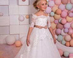 Blanco y azul de encaje vestido de niña de flores  cumpleaños