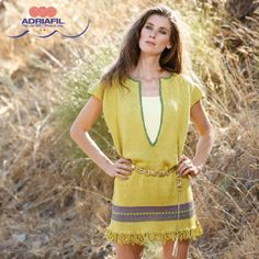"""Stay cool without giving up to elegance: here's the tunic """"Emerald"""", knitted with Snappy Ball yarn, 100% pure Egyptian cotton! http://www.adriafil.com/uk/scheda-filato.html?id_cat=10&id_gr=2&id_filato=SN Fancy to knit yours? Discover the whole pattern collection from Dritto & Rovescio 56 magazine http://www.adriafil.com/uk/scheda-rivista.html?id_rivista=56&id_rubrica=1&pag=2 Diagrams and explanations included!  #adriafil #cotton #yarn #filato #summer #knit #knitting #fashion #moda…"""