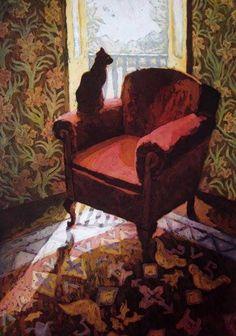 """huariqueje: """" Cat on a armchair - Marcel Schellekens Dutch Etching , 93 x 73 cm, """" Room Paint, Interior Paint, Marcel, Cat Art, Pet Birds, Painting & Drawing, Contemporary Art, Armchair, Illustration Art"""