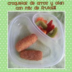 Croquetas de arroz con atún y mix  de frutas!!!