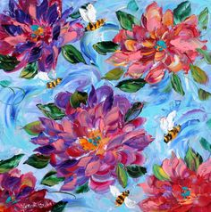 Original painting on canvas IMPASTO BEES FLOWERS by Karensfineart