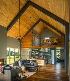 Small and cozy modern barn house getaway in Vermont - #polebarnhouses - This modern barn house was designed by Joan Heaton Architects, along with builder Silver Maple Construction, located in Weybridge, Vermont.... Best Tiny House, Good House, Full House, Metal Building Homes, Building A House, Building Ideas, Building Materials, Le Vermont, Modern Barn House