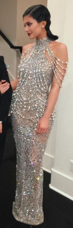 Who made Kylie Jenner's silver beaded gown?