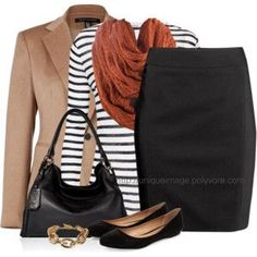 Striped Top, Chunky Scarf - business wear