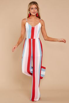 4d2963f0572 Greatest To Ever Walk Red Multi Striped Jumpsuit
