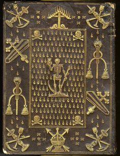 Angers, Bibliothèque municipale, impr. Rés. T 1341. L'Office de la Vierge Marie. Paris, 1586. Reliure macabre offerte par Henri III à l'évêque de Chartres, Nicolas de Thou.