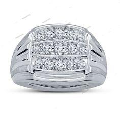Men's 14k White Gold Plated 925 Silver D/VVS1 Diamond Wedding Band Ring Sz 7 8 9…