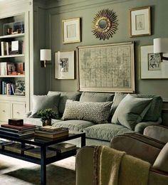Interior Color Schemes {part I} Monochromatic by Laurel Bern Interiors… Living Room Green, Paint Colors For Living Room, Home And Living, Living Room Decor, Room Paint, Deco Design, Küchen Design, Design Color, Design Ideas