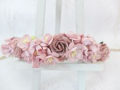 Two shades of dusty roses are used to make this flower crown. I matched dark dusty rose with gardenia and cherry blossom. Mulberry paper flowers wire
