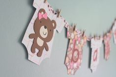 SOO cute for a baby shower or baby room! Easy to make too. Teddy Bear Baby Shower Banner, Girl. $16.00, via Etsy.