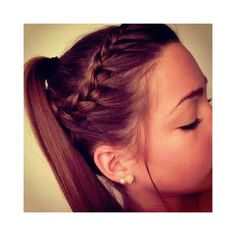 Braided Ponytail Hairstyles and Beauty Tips ❤ liked on Polyvore featuring beauty products, haircare, hair styling tools, hair, hairstyles, hair styles, cabelos and coiffure