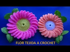 Flor margarita tejida a ganchillo # 6 paso a paso fácil de tejer - YouTube