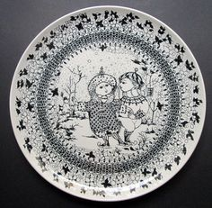 "Jumbo size wall plate Winter 35,5 cm/ 14"", from the series ""The Seasons"", designed by the Danish designer Bjorn Wiinblad for Nymolle by SCALDESIGN on Etsy"