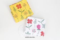 Herb flower fabric Herb flower pattern 44x35 100% by KoreaBacol