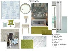 #blue #bedroom #interiordesign #moodboard created on www.sampleboard.com