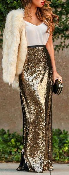 Golden sequins maxi skirt + fur jacket.