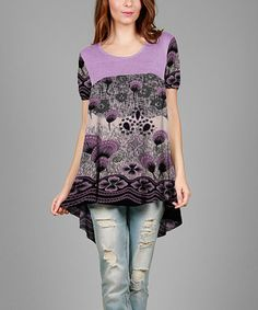 Lavender & Black Floral Hi-Low Tunic - Plus