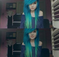 blue hair, hairstyles, blue ombre, ombre, emo part Emo Scene Hair, Emo Hair, Scene Girls, My Hairstyle, Pretty Hairstyles, Scene Hairstyles, Pelo Emo, Pelo Pixie, Rocker