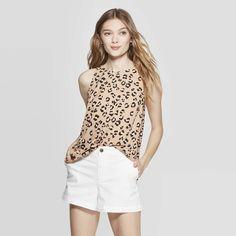 56ed11d2fa08 Women's Leopard Print Sleeveless Crewneck Top - A New Day™ Brown : Target