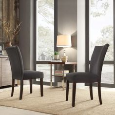 $183 for 2 INSPIRE Q Catherine Dark Grey Fabric Parsons Dining Chair (Set of 2)   Overstock.com Shopping - The Best Deals on Dining Chairs