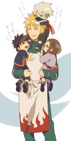 Minato, obito , kakashi and rin
