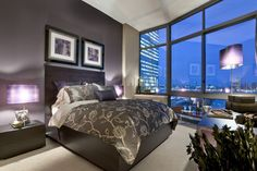 Bedroom gray and purple bedroom Design Ideas, Pictures, Remodel and Decor