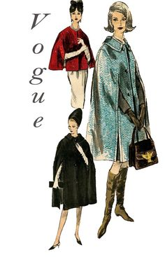 Vintage 1960s Vogue 6032 Cape in 2 Lengths by DesignRewindFashions, $25.00