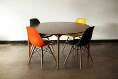Vintage Brown & Saltman Walnut Dining Table w/ Authentic Eames Shell Chairs #Modern
