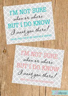 Will You Be My Bridesmaid Card, Mod Bridesmaid Card, Maid of Honor, Flower Girl. $1.75, via Etsy.