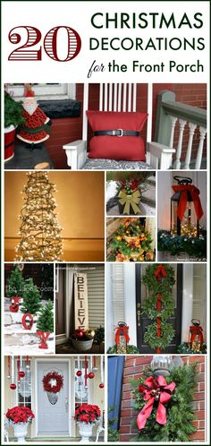 20 Wonderful Ways to Decorate Your Front Porch for Christmas -- Tomato cage Christmas tree? Hanging wreaths on windows? I've rounded up tons of great ideas for decorating your front porch Thanksgiving weekend! Christmas Porch, Merry Little Christmas, Outdoor Christmas Decorations, All Things Christmas, Winter Christmas, Christmas Holidays, Holiday Decor, Pallet Christmas, Christmas Projects