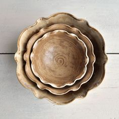 minimalist ceramic bowls nesting bowl set of 3 flower shape handmade serving bowls Autumn brown