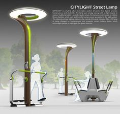 SMART URBAN - citylight, outdoor exercise equipment used to generate electricity for lampposts
