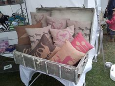 A great find, Vintage suitcase to display the cushions on my stall. www.katiejayne.co.uk
