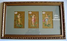 For sale in my shop Victorian Rose Prints on Ruby Lane: C1870s Three Fairy Lady Demorest Pattern Print s Triptych Half Yard Long Chromolithograph Gold Victorian Trade Card Fairies